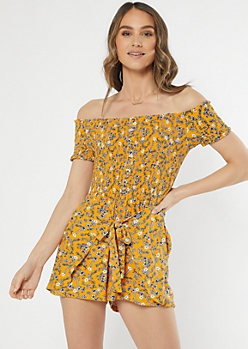 Yellow Floral Print Smocked Off The Shoulder Romper