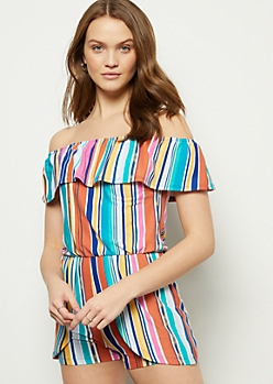 8f608acfb Teal Striped Super Soft Tulip Hem Romper