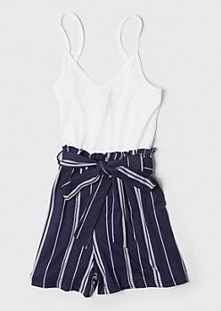 Navy Striped Ribbed Knit Paperbag Waist Romper