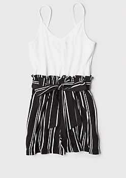 Black Striped Ribbed Knit Paperbag Waist Romper