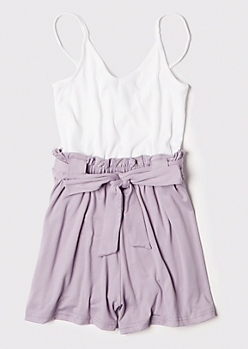 Purple Ribbed Knit Paperbag Waist Romper