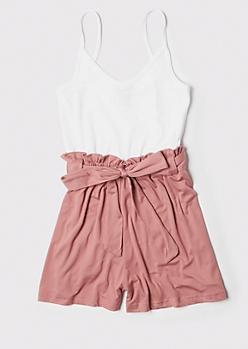 Pink Ribbed Knit Paperbag Waist Romper