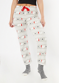Gray Polar Bear Print Plush Sleep Pants