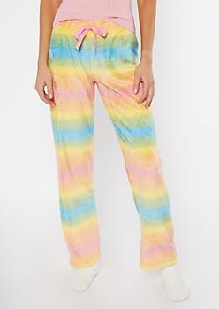 Rainbow Print Plush Sleep Pants