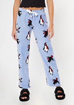Blue Penguin Print Plush Sleep Pants