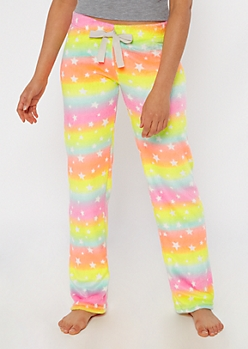 Neon Rainbow Star Cozy Plush Sleep Pants