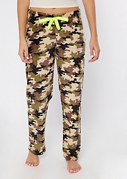 Camo Print Cozy Plush Sleep Pants