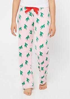 Pink Santa Cactus Plush Sleep Pants