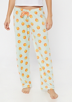 Mint Peach Print Plush Sleep Pants
