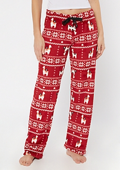 Red Llama Snowflake Plush Sleep Pants