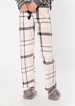 Pink Plaid Print Cozy Plush Sleep Pants