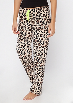 Cheetah Print Cozy Plush Sleep Pants