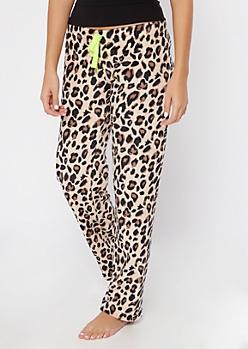 Cheetah Print Cozy Plush Sleep Pants