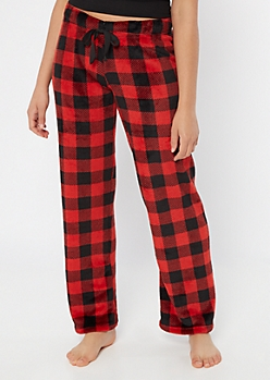 Red Plaid Print Cozy Plush Pants