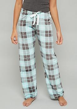 Mint Plaid Print Plush Pajama Pants