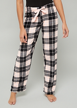 Pink Plaid Print Plush Pajama Pants