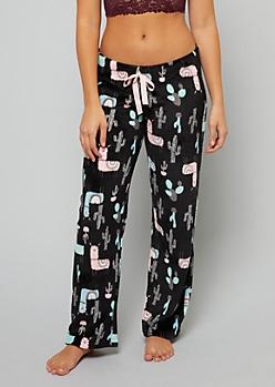 Black Llama Print Plush Pajama Pants