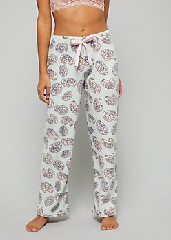Mint Donut Print Plush Pajama Pants
