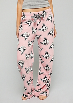 Pink Frenchie Print Plush Pajama Pants