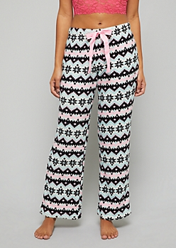 Black Zig Zag Pattern Plush Pajama Pants