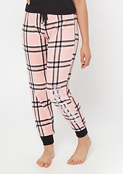 Pink Plaid Print Blessed Plush Sleep Joggers
