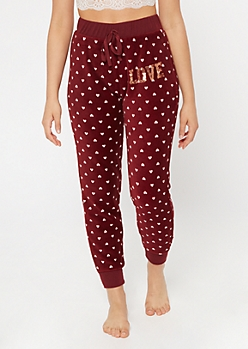 Burgundy Heart Print Plush Sleep Joggers
