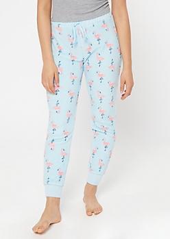 Blue Flamingo Print Plush Sleep Joggers