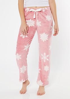 Mauve Snowflake Print Plush Sleep Pants
