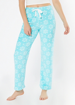 Blue Snowflake Print Plush Sleep Pants