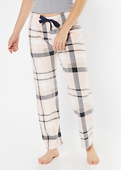 Pink Plaid Print Plush Sleep Pants