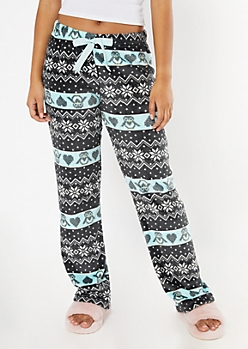 Black Penguin Fair Isle Plush Sleep Pants