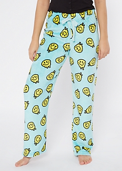 Blue Drippy Smiley Face Print Plush Sleep Pants