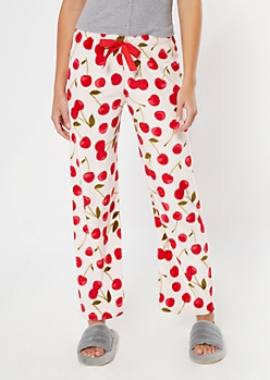 Pink Cherry Print Plush Sleep Pants