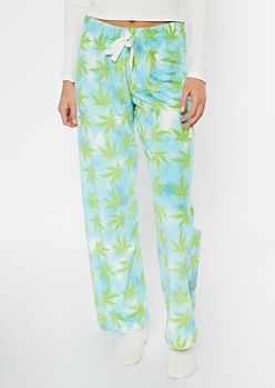 Blue Weed Print Plush Sleep Pants