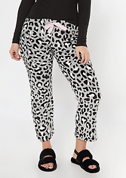 Gray Leopard Print Plush Sleep Pants