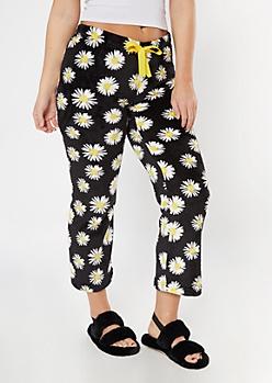 Black Daisy Print Plush Sleep Pants
