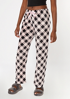 Pink Plaid Plush Sleep Pants