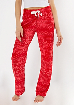 Red Fair Isle Print Plush Sleep Pants