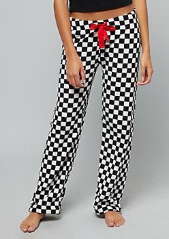 Checkered Print Plush Pajama Pants