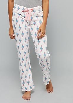 White Lightning Bolt Print Plush Pajama Pants