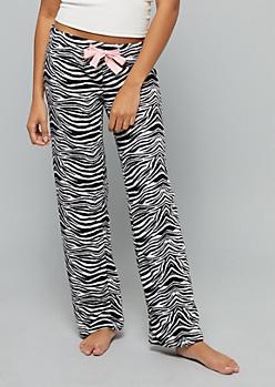 Black Zebra Print Plush Pajama Pants