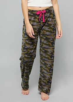 Camo Print Plush Pajama Pants