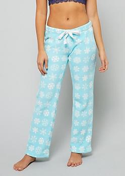 Blue Snowflake Print Plush Pajama Pants