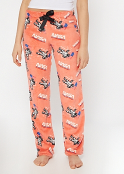 Salmon NASA Print Plush Sleep Pants