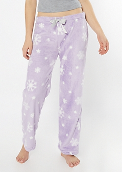 Lilac Snowflake Print Plush Sleep Pants