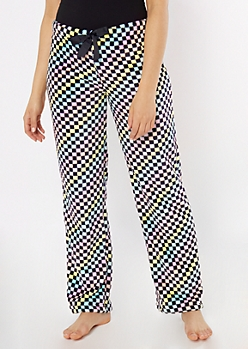 Pastel Checkered Print Plush Sleep Pants