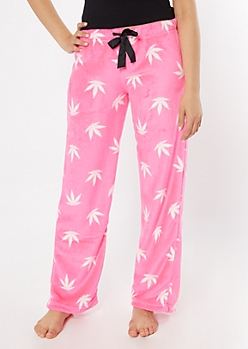 Pink Weed Print Plush Sleep Pants