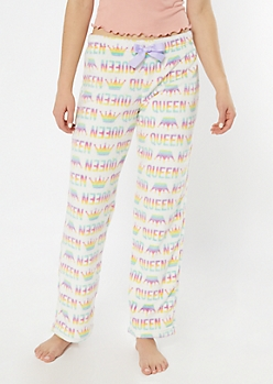 White Rainbow Queen Plush Sleep Pants