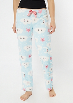 Blue Sleepy Cloud Plush Sleep Pants