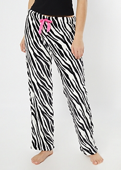 Zebra Print Plush Sleep Pants